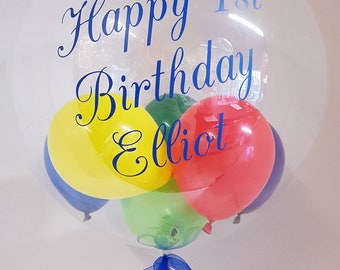 Personalised 1st Birthday Clear Bubble Balloon Gift In A Box Helium Inflated First Delivery