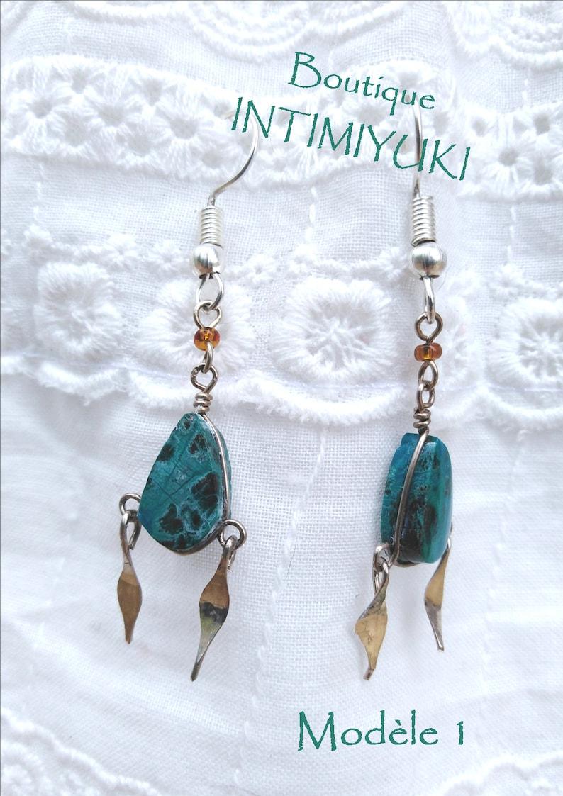 handmade earring stone earring Peruvian earring chrysoglue earring Sodalite earring jewelry