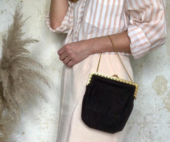 Beautiful vintage handbag in dark brown 30s 40s