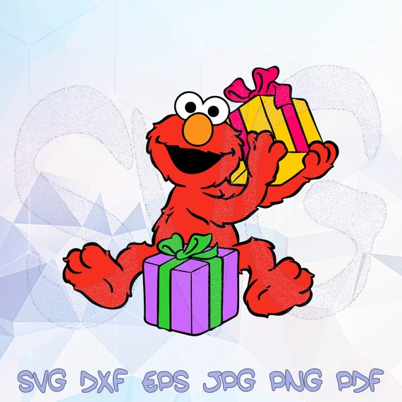 Christmas Elmo Gifts Svg Dxf Sesame Street Cricut Silhouette Birthday Party Decorations 1st Shirt St Clipart Iron On Heat Transfer Stencil