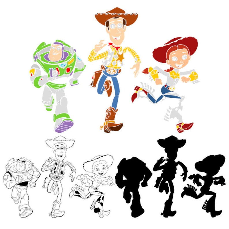 Sheriff Woody Buzz Lightyear Jessie SVG Toy Story Disney Cut File Cricut Silhouette Birthday Party Supplies Iron on Heat Transfer Decor DXF