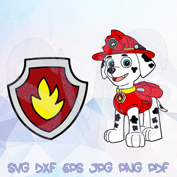 Marshall Badge Svg Paw Patrol Cricut Silhouette Birthday Party Decor Shield Logo Fire Dog Firefighter Dalmatian Decal Vinyl Template Stencil
