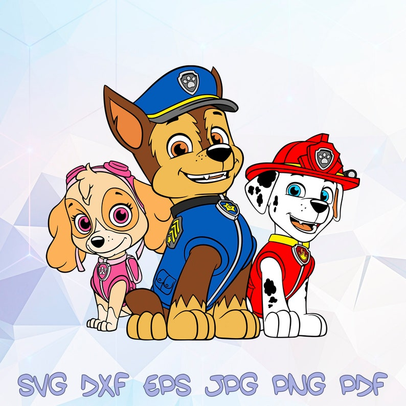 Chase Skye Marshall Svg Paw Patrol Dog Cricut Design Silhouette Birthday Party Supplies Decorations Decal Vinyl Template Vector Stencils Dxf
