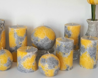 Yellow And Gray Pillar Candles. Decorative candle for mindfulness gift, or unique home decor.