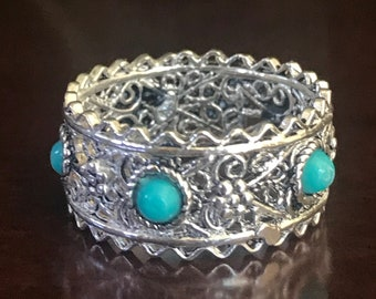 Israel Filigree Ring With Teal Dots Sterling Silver Size 6 Vintage