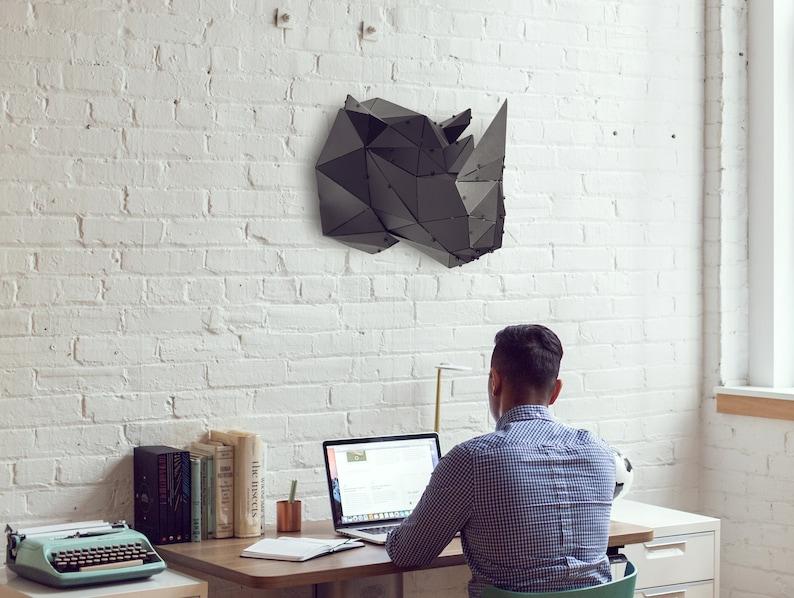 3D Metal Art Rhino Head