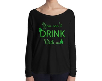 6bb3a3147 LET'S DAY DRINK Women's St. Patty's Day Off-Shoulder Sweatshirt - Pick Style,  St. Patrick's Day Shirt, Drinking, Womens St Pattys Day Shirts