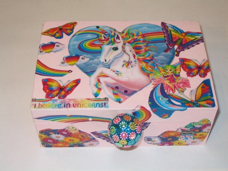 Rainbow unicorn Decoupage Wooden Storage Jewelry Box with butterflies