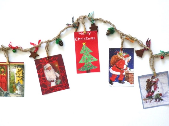 Garland Jute Rope Christmas Card And Photo Holder Potpourri Etsy