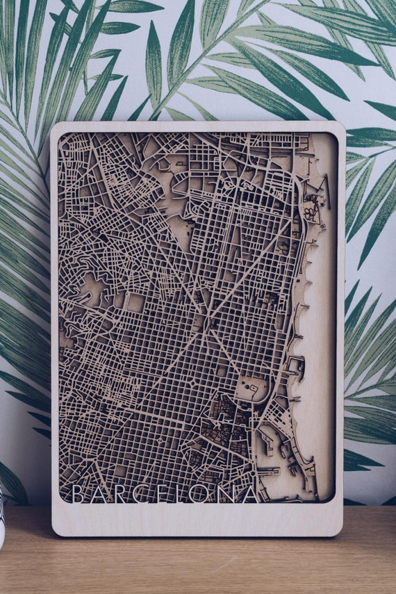 Wood art Engraved map Laser map Wood engraving. Custom wood map Laser cut map Wall decor Wood world map with river Wood city map