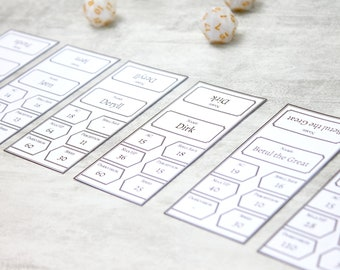 Fillable PDF Initiative Tracker Cards Black Combat Tracking