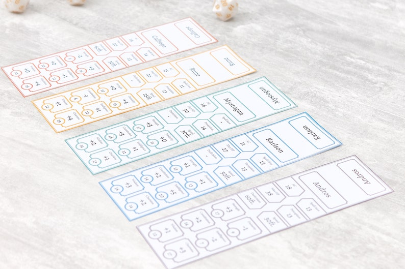 Combat Tracking Character Cheat Sheets Tabletop RPG Fillable PDF Initiative Tracker Cards Rainbow D/&D Dungeons and Dragons