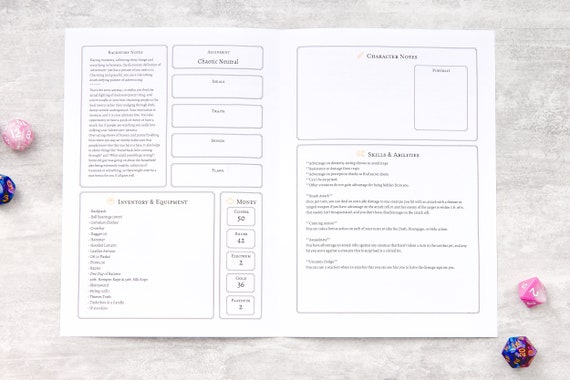 Pack of 10 A5 A4 folded book Dungeons and Dragons 5e DnD Character Sheets
