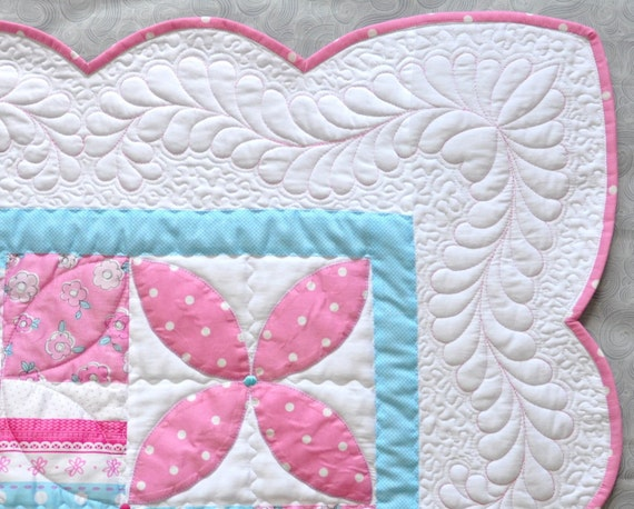 Modern with Pink Throw Wall Hanging Baby or Toddler Quilt
