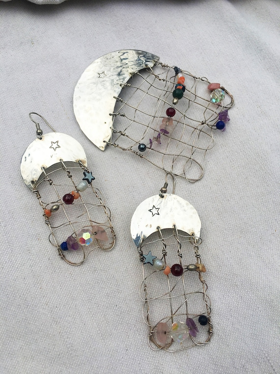 Moon & Stars Silver Earrings and Pin