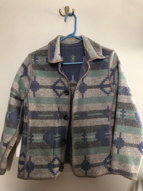Vintage woolrich reverseable blanket coat