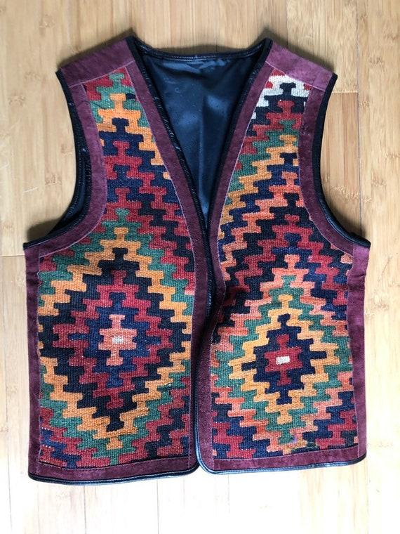 Vintage suede and southwestern wool tapestry desig