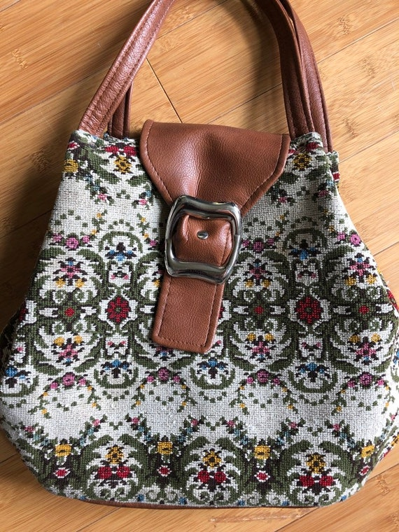 Vintage carpet bag bucket purse