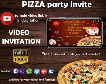 Pizza party- Pizza birthday -Chef party -Italian birthday party- Video invitation - Free thank you card