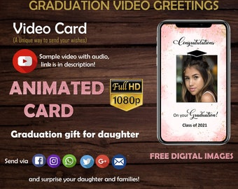 Graduation card- Video Greeting- High School Graduation -Class of 2021 -Daughter Graduation gift -College Graduation