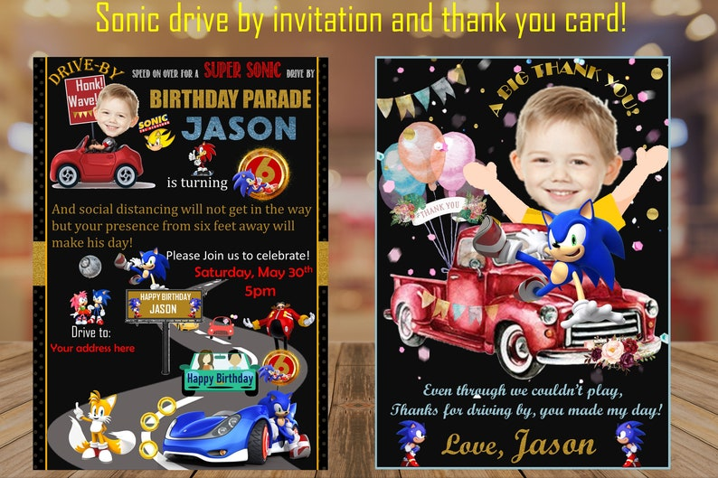 Drive by Sonic Invitation  Thank you card  Photo Invitation image 0