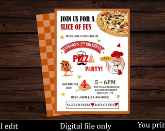 Pizza birthday invitation - Pizza party - Slice of fun - First birthday - Pizzeria Birthday -Italian birthday invitation - Chef party invite