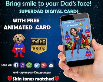 Father's day gift -Superhero Funny Card- Superhero- Custom portrait - Gift for dad - Family illustration