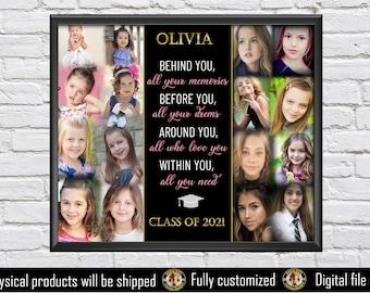 Graduation photo collage-School memories - Class of 2021 - Senior -Graduation gift for her- Graduation gift 2021 - Gift for daughter-Digital