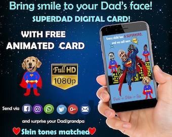 Father's day gift -Superhero Funny Card- Black Superhero- Custom portrait - Gift for dad - Family illustration
