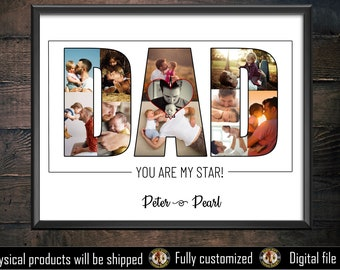 Father's day gift - father's day photo collage- Dad photo collage - Gift for dad - Dad Photo collage - Custom photo collage - Papa -birthday