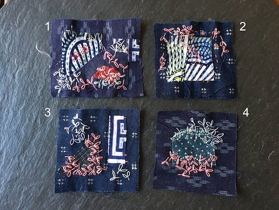 1 textile art Japanese indigo dye boro lazy daizy sashiko slow stitch visible mending patch scrap fabric mini quilt assemblage stitching