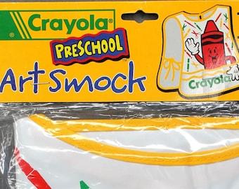 Vintage Crayola Art Smock Apron reusable easy to clean 3 storage pockets NIP 17 x 14 1998 Kids Child