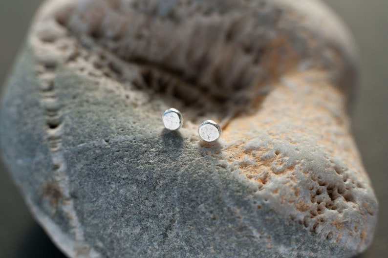 sterling silver stud earrings minimalistic earrings rustic stud earrings tribal earrings tiny circular stud earrings statement earrings