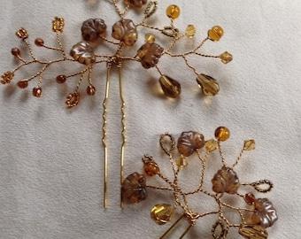 Autumn gold bridal hair pins