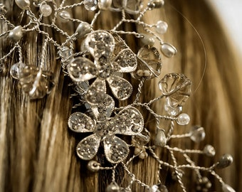 Silver & crystal hair comb