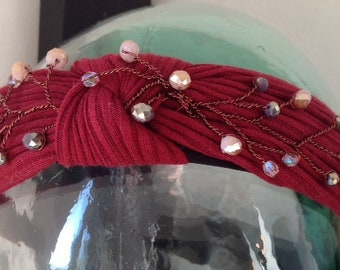 Red or green bejewelled hair band