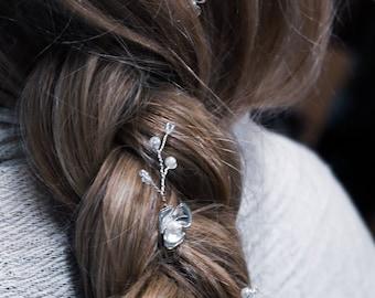 Silver & pearl hair pin