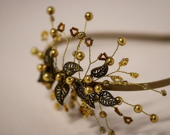 Champagne gold & bronze hair accessory