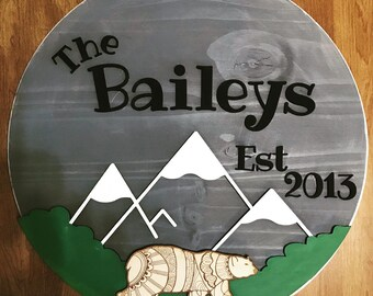 """Custom Name Sign // 18"""" Round Sign // Wood Sign"""