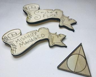 Wizard Pins   Laser cut Jewelry   Wood Accessories   Wood Pin   Handmade Pin   Wood Brooch