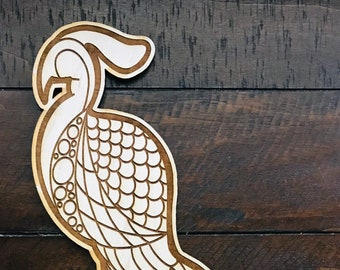 Peacock // Birch Hand Drawn Sign // Illustrated Sign