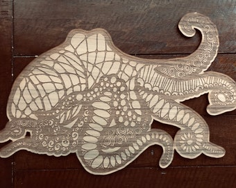 Octopus // Birch Hand Drawn Sign // Illustrated Sign