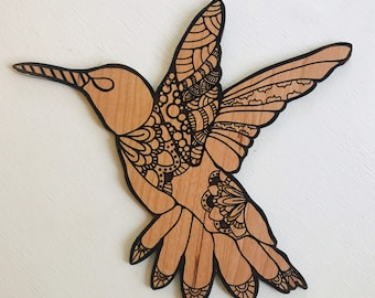 Hummingbird // Birch Hand Drawn Sign // Illustrated Sign