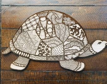 Turtle // Walnut Sign // Illustrated Sign