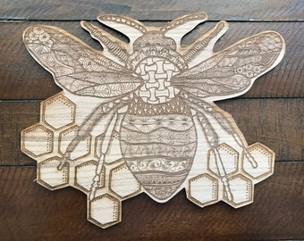 Bumble Bee // Honey Bee // Walnut Sign // Illustrated Sign