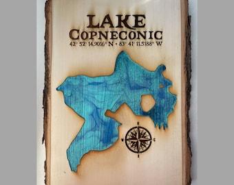 Custom Lake Sign // Live Edge Wood Wall Art // Lake House Cabin Art