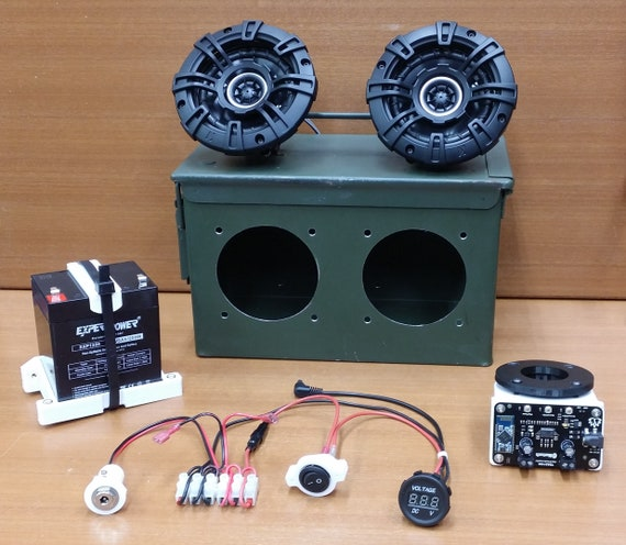 Battery Powered BlueTooth Ammo Can Boombox Kit. You assemble the complete  prefitted kit, no drilling or cutting required! Full Instructions!