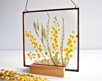 Real pressed mimosa Yellow flower frame Mother's day gift Spring flower Square stain glass frame Spring wall decor Yellow floral room decor
