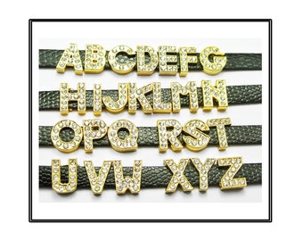 Jewelry Sets & More 10pcs 8mm A-w Mixed Gold Color English Alphabet Plain Slide Letters Diy Letters Diy Charms Fit For Pet Collar Wristband Keychain