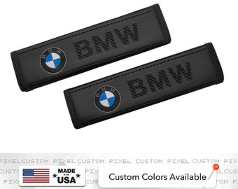 BMW Car Seat Belt Covers Embroidery Logo Leather Shoulder Pads Handmade Custom Gift Idea